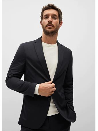 MANGO - Slim-fit Technical Suit Blazer BLACK