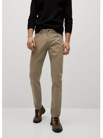 MANGO - Slim Fit Denim-effect Serge Pants BEIGE