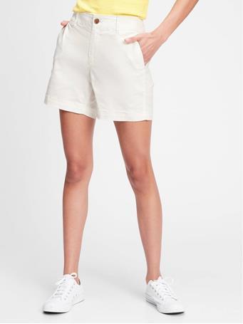 "GAP - 5"" Mid Rise Khaki Shorts WHITE 092"