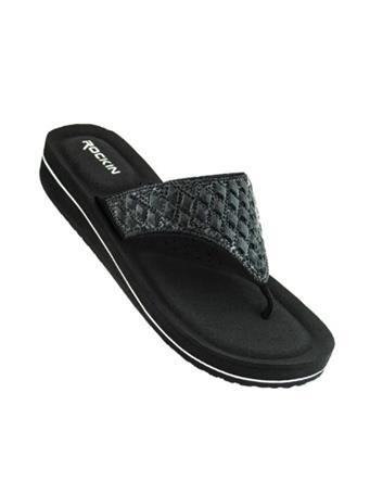 ROCKIN FOOTWEAR - Crystal Wedge Flip Flop BLACK