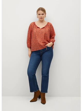 Violeta by MANGO - Bow Cotton Blouse BURNT ORANGE