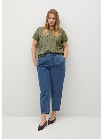 Violeta by MANGO - Organic Printed Cotton T-shirt KHAKI