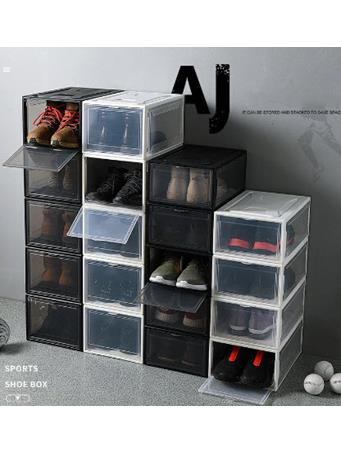 STACK UP SERIES - Large Drop Front Stackable Shoe Box WHITE