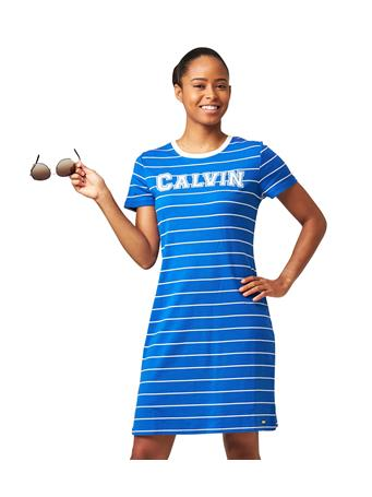 CALVIN KLEIN - Striped Logo T-Shirt Sneaker Dress CAPRI/CREAM