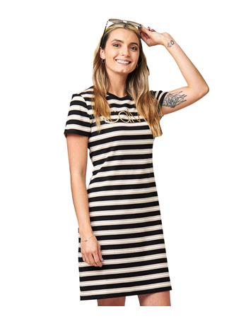 CALVIN KLEIN - Striped Logo T-Shirt Sneaker Dress BLACK/KHAKI/WHITE