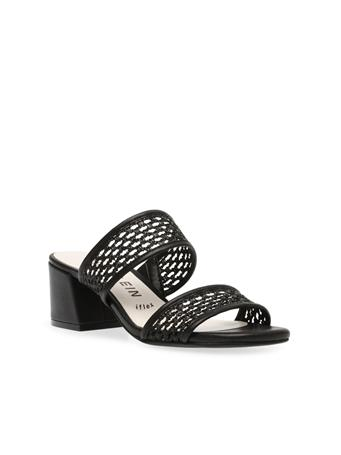 ANNE KLEIN - Brooke Woven Block Heel Sandals BLACK MULTI