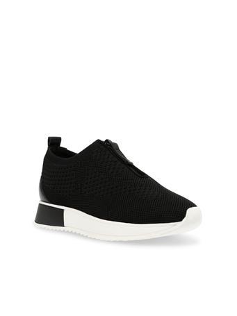 ANNE KLEIN - Terri Zip Front Knit Sneakers BLACK