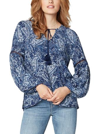 LIVERPOOL JEANS - Tie Front Popover Blouse With Puff Sleeve BLUE PAISLEY