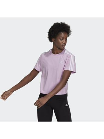 ADIDAS - Essentials loose 3-Stripes Cropped Tee  LILAC/WHT
