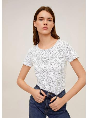 MANGO - Printed Cotton-blend T-shirt 99BLACK