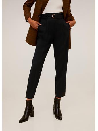 MANGO - Belted Crepe Pants BLACK
