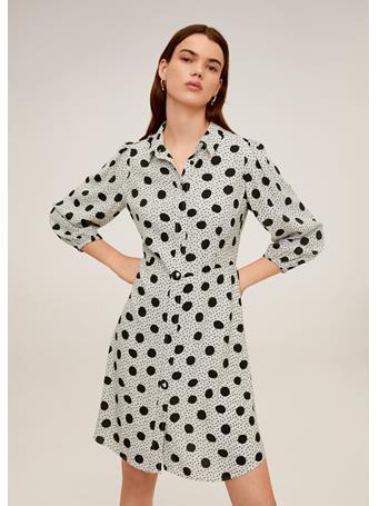 MANGO - Polka-dots shirt dress WHITE