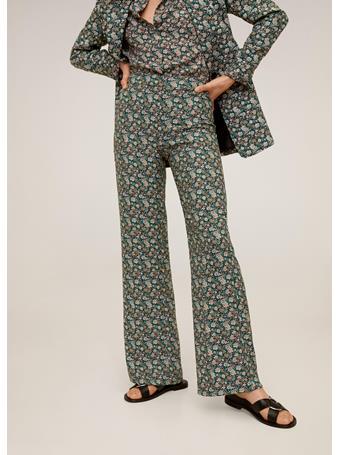 MANGO - Printed Straight Pants MED GREEN
