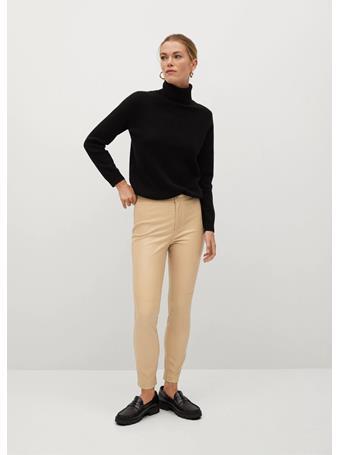 MANGO - Slim-fit Faux Leather Pants LIGHT BEIGE