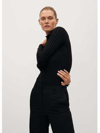 MANGO - Ribbed Fine-knit Sweater BLACK