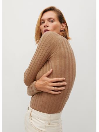 MANGO - Ribbed Fine-knit Sweater MEDIUM BROWN