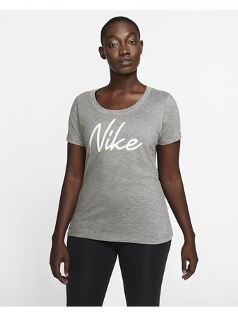 NIKE -  Short Sleeve Scoop Nike Logo Tee DK GRY HTHR