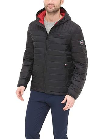 TOMMY HILFIGER - Water Resistant Padded Hooded Jacket BLACK