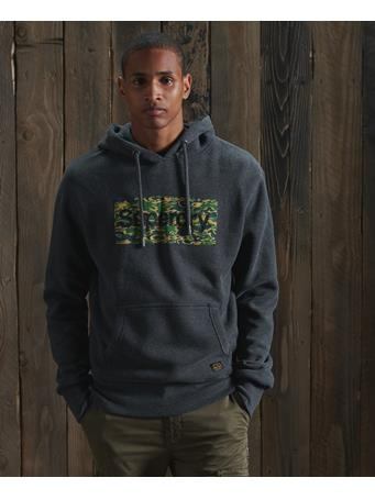 SUPERDRY - Core Logo Canvas Hoodie  CHARCOAL