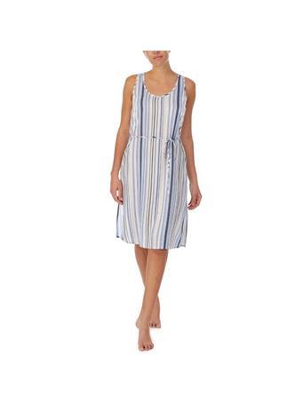 ELLEN TRACY - Long Lounge Dress 758 BLUE STRIPE