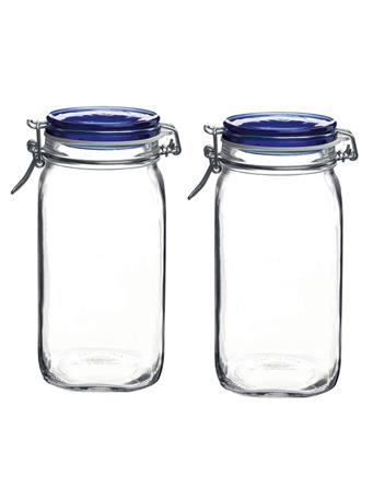BORMIOLI ROCCO - Fido Square 1.5L Wire Bail Jars BLUE
