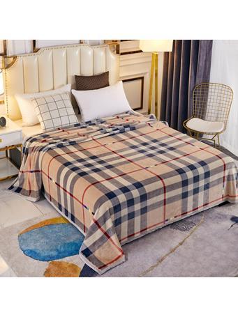 SIGNATURE DESIGN - Fashion Plaid Plush Fleece Blanket BURBURRY PLAID