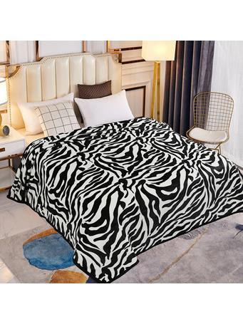 SIGNATURE DESIGN - Zebra Plush Fleece Blanket ZEBRA