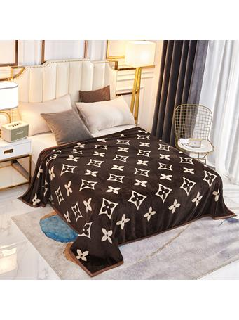 SIGNATURE DESIGN - Fashion Monogram Plush Fleece Blanket MONOGRAM