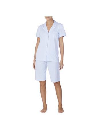 RALPH LAUREN - 2 Piece Short Sleeve Collar Pj Set 452 BLUE STRIPE