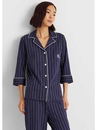 RALPH LAUREN - Striped Cotton Capri Sleep Set 486 BLUE STRIPE