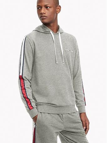 TOMMY HILFIGER - Men'S Pullover Hoodie Sweatshirt Logo Stripe GREY