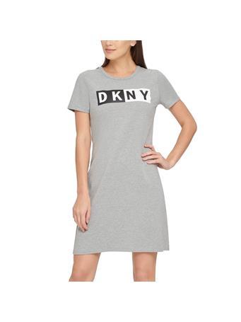 DKNY - Two Tone Logo Tshirt Dress PEARL GREY HEATHER