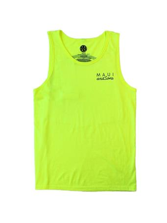 MAUI AND SONS - Classic Neon Color Cookie Logo Tank Top NEON YELLOW