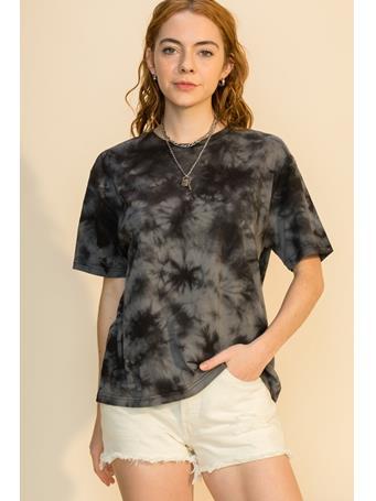 HYFVE - Tie Dye Crew Neck Drop Shoulder T Shirt BLACK