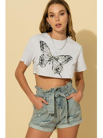 HYFVE - Round Neck Short Sleeve Butterfly Print Crop Top HEATHER GREY