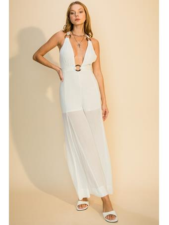 HYFVE - Plunging Halter Jumpsuit With Back Ties OFF WHITE