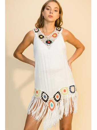 HYFVE - Multi Color Crochet Cover Up With Tassel Trim OFF WHITE