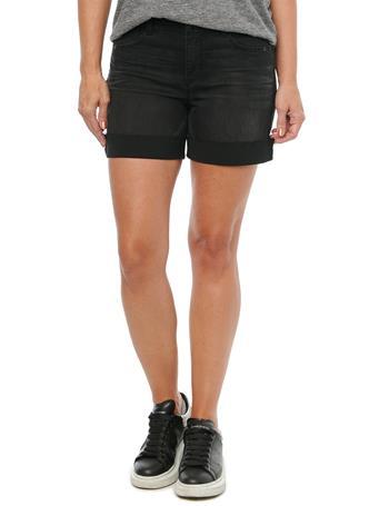 "DEMOCRACY - ""Ab""solution High Rise Embroidered Pockets 5"" Black Denim Shorts BLACK"