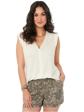 DEMOCRACY - Cap Sleeve V Neck Rose Gold Foil Leaf Print Knit Top VINTAGE WHITE