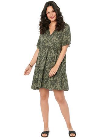 DEMOCRACY - Short Sleeve Floral Camo Print Babydoll Pocket Dress THYME