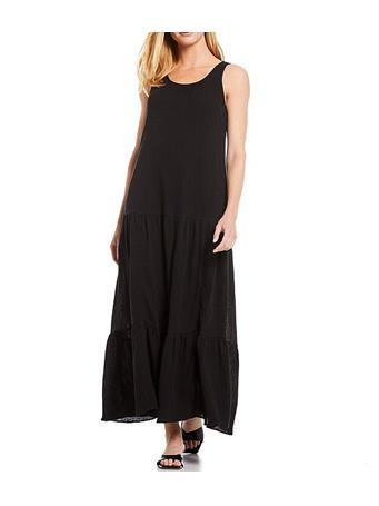 CALVIN KLEIN - Scoop Neck Texture Tank Tiered Dress BLACK