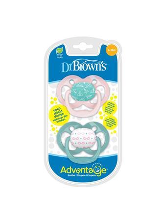 DR. BROWN'S - 2 Pack Advantage Pacifier 6-18 Pink No Color