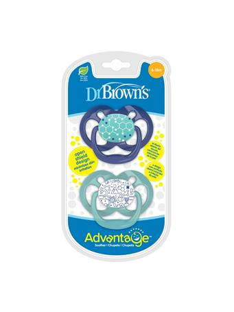 DR. BROWN'S - 2 Pack Advantage Pacifier 6-18 Blue No Color