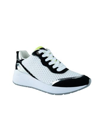 MARC FISHER - Elesa Lace Up Sneaker WHT/BLK/LIME