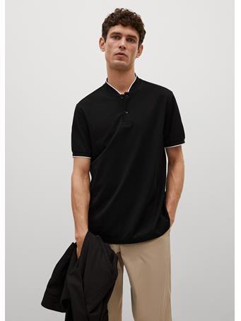MANGO - Mao Collar Cotton Polo BLACK