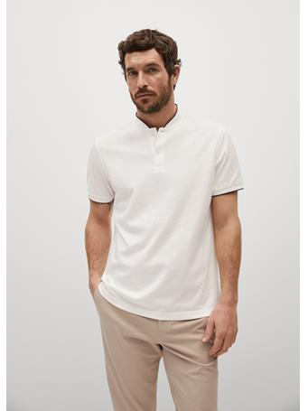 MANGO - Mao Collar Cotton Polo OFF WHITE