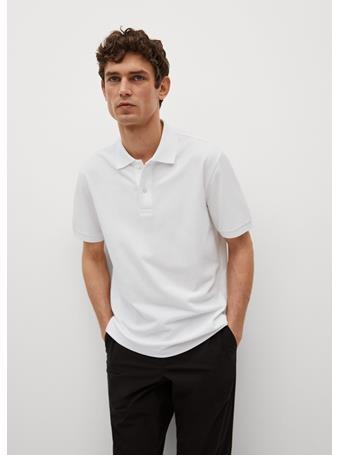 MANGO - Technical Cotton Piqué Polo Shirt WHITE