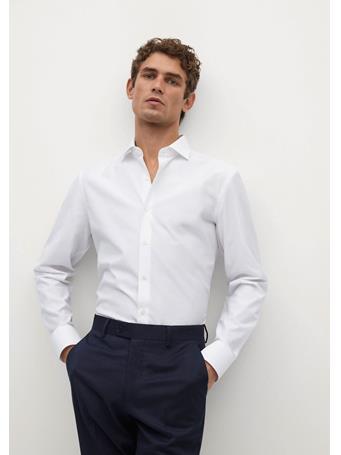 MANGO - Slim Fit Tailored Cotton Shirt WHITE