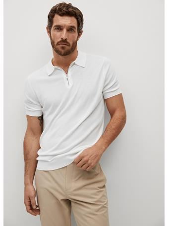 MANGO - Flowy Zip-up Polo Shirt OFF WHITE