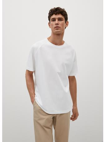 MANGO - Relaxed-fit Mercerized T-shirt OFF WHITE